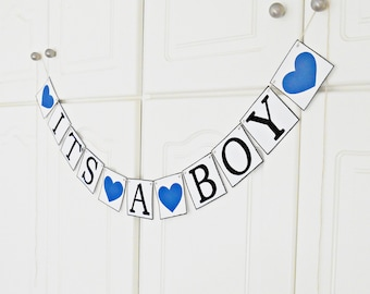 FREE SHIPPING, It's A Boy Banner, Baby shower decoration, Baby gender announcements, Baby photo prop, Gift for mother and baby boy,Navy blue