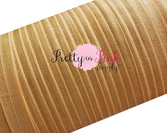 "Antique Gold Foldover Elastic 10 Yards 5/8"", Solid FOE, Tan Elastic, Shiny Elastic Headband, Foe"
