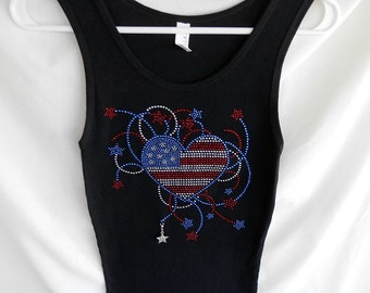 Rhinestone 4th Of July Heart & Fire Works Tank Top, With A Removable Star Charm Or Choose A Charm From The 2nd Picture. 4th Of July Apparel