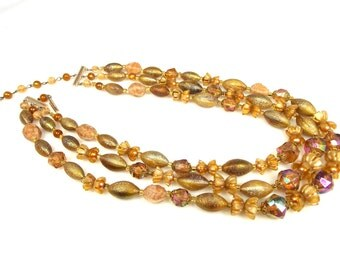 Three Strand Plastic Faux Crystal Floral Necklace Western Germany
