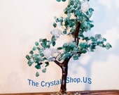 Green Aventurine and Rose Quartz Tree 8 1/2 inches tall! Attracts Money and Good Luck!