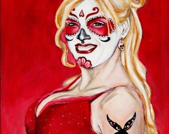 "Anna Nicole Smith Sugar Skull 8""x10"""
