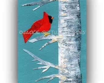 "Cardinal art, Archival print, 5 x 7"" Red cardinal in birch tree, Bird art, Acrylic painting print, Cardinal collage giclee, Cardinal decor"