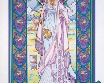 "Celtic Irish Fantasy Art Print BÓANN the Cow Goddess 8x11""."