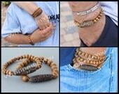 9 Eye DZI Bead Stretch Bracelet - His or Hers Wood Beads / Natural AGATE Dzi Focal - Tibetan Style Stretch Unisex Men Stacking Bracelet - 86