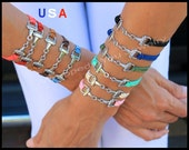 HORSE Bracelet - Horse Snaffle Bit Charm Bracelet - Silver EQUESTRIAN Charm Bracelet - Faux Suede Leather Cord Charm Jewelry Gift - USA - sc