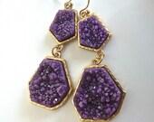 Druzy Drusy Eggplant Grape Purple Double Drop Dangle Fashion Earrings for Her.  Druzy jewelry under 30