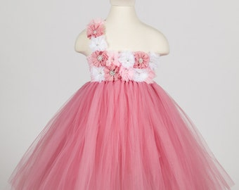 Dusty Rose Dress- Pink and White- Flower Girl Dress- Dusty RoseTutu Dress- Birthday Tutu Dress- Pink Tutu Dress