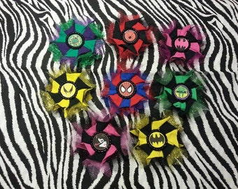 Cosplay Comic Super Heroes Glitter Tulle Bows, Magnets, Clips, Pins Ornaments Superman Spiderman Hulk Batgirl Wolverine Catwomen