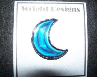 FREE U.S. SHIPPING--David Wright Metalwork Blue Crescent Moon Pin