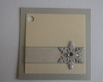 10 silver snowflake holiday gift tags