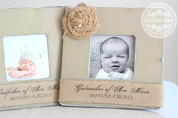 godmother godfather gift custom personalized burlap picture frame set of 2 godparents gift