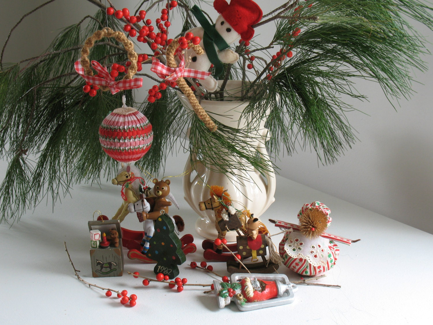 Vintage 1980s Country Christmas tree ornaments set by