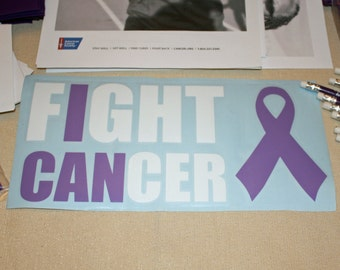 I CAN Fight Cancer Car Decal - Cancer Awareness - benefits American Cancer Society (multiple colors available)