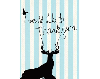A6 Greeting Card - Thank you deer