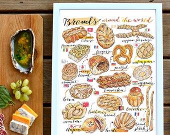 Bread Illustration. Breads of the world print. Food art. Kitchen decor. Bakery. Artisanal. Home decor. Gift for baker. Cultural. Gourmet.