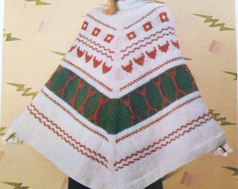 Vintage 1980's knit Pattern for a Beautiful Lady's Poncho