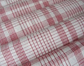 Vinatge woven linen fabric Red check, gingham, karo in very good condition from 1900s