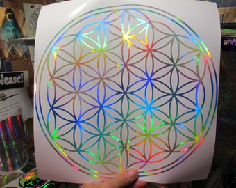 LARGE Flower of Life Sticker. Prismatic  Rainbow Silver.  11.5""
