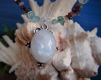 Island Goddess Moondance Rainbow Moonstone Pendant Necklace with Aquamarine and Tourmaline
