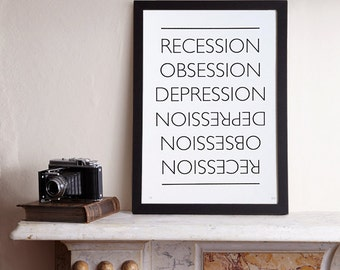 Sale! The Great Recession Screenprint / Recession Screenprint, Recession Poster, Typography Screenprint, Type Poster, Black Screenprint