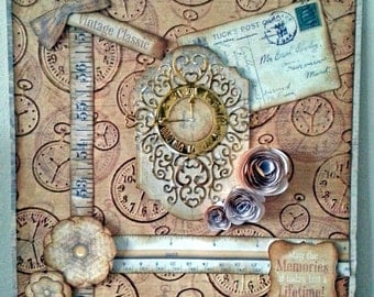 8x8 Size Card Vintage/Steampunk/Grunge and co ordinating box