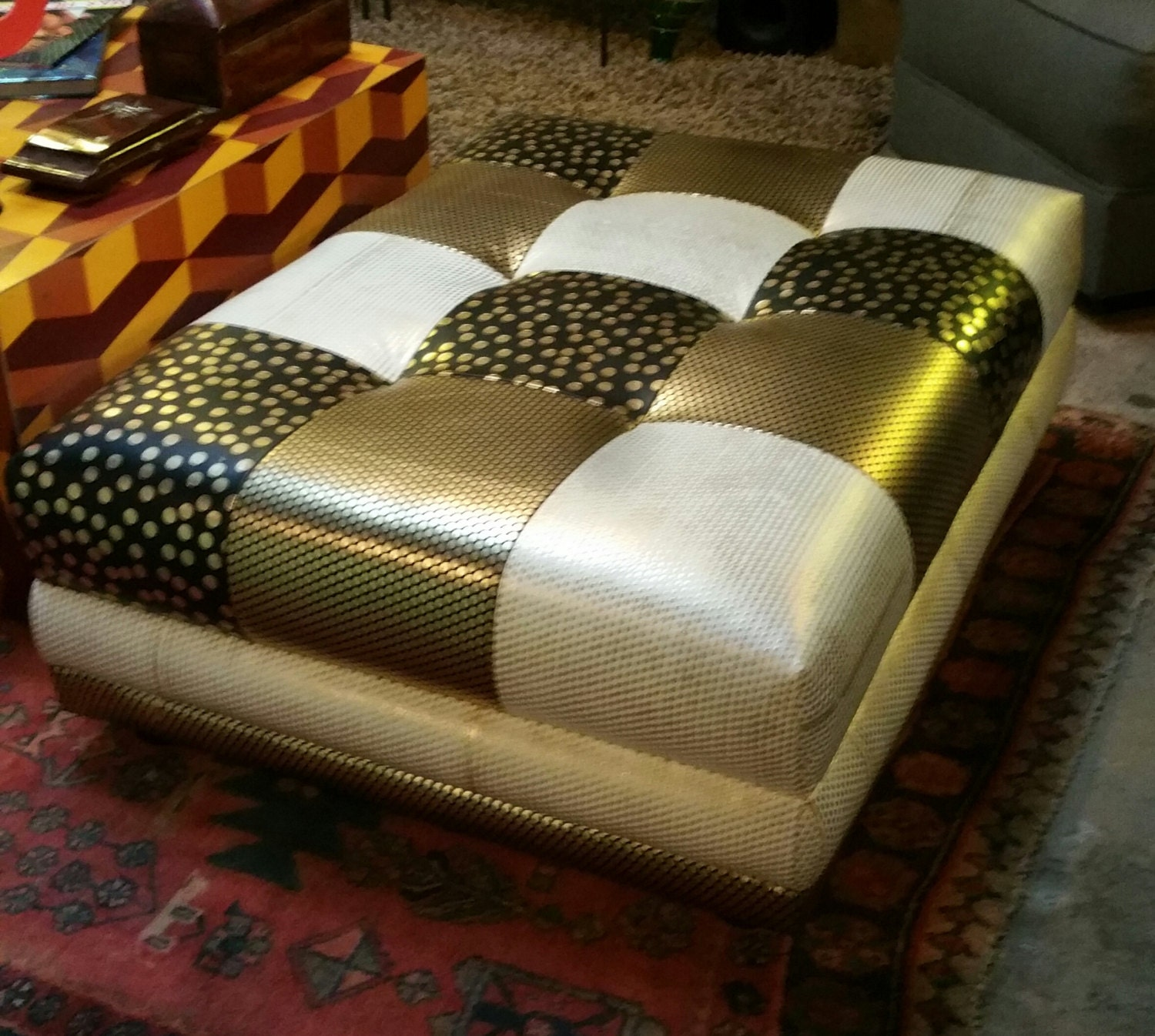 Leather Patchwork Ottoman/coffee Table. By FrayedKnotInc