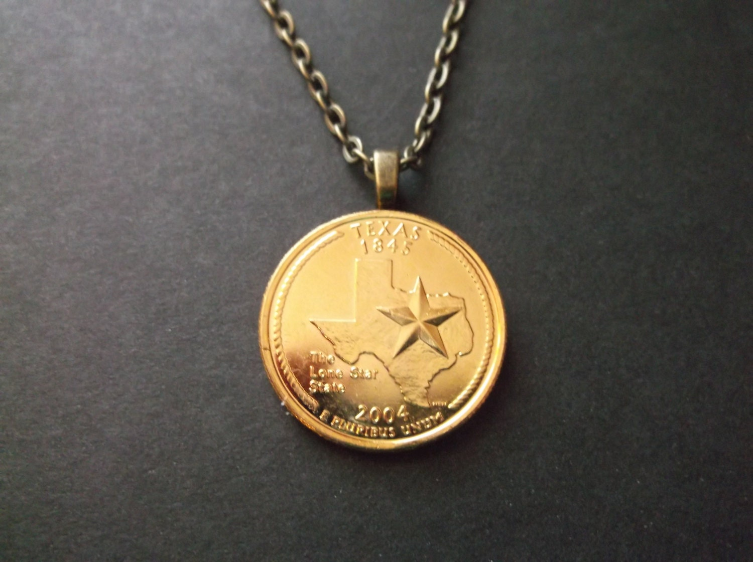 Texas United States Gold Colored Quarter Coin Necklace by ...