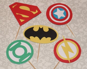 Superhero cupcake toppers includes batman and superman inspired decorations