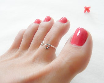 Sterling Silver Toe Ring Adjustable Two Sided Ring Handmade Hammered Toe Ring For Women