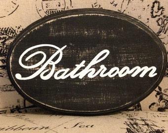 "Adorable Bathroom Sign (black) (5x7"")"