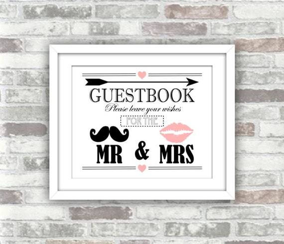 INSTANT DOWNLOAD - Guestbook Wedding Decor Printable Digital Art Print Sign - Moustache, Lips, Arrow, Heart - Pink Black White
