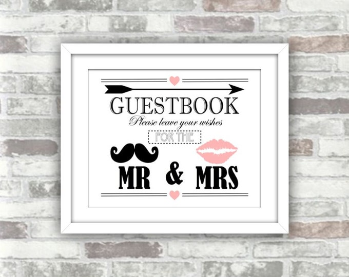 INSTANT DOWNLOAD - Guestbook Wedding Decor Printable Digital Art Print Sign - Moustache, Lips, Arrow, Heart - Pink Black White