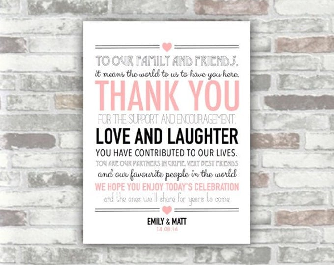 Digital Printable File - Personalised Thank You Wedding Guest Sign Place Setting - Pink black typography table decor, to family & friends
