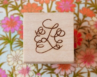 Calligraphy Monogram Stamp - Hand Lettered for Stamping Stationery, Wedding Logo, Place Cards, Favors, Gift Enclosure Cards