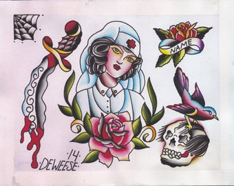 Original Watercolor Traditional Tattoo Flash Painting of Nurse with Rose, Dagger, Sparrow with Skull