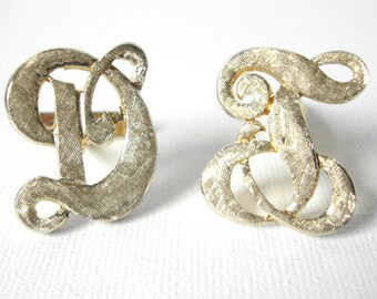 Vintage Initial Cufflinks In Vermeil Sterling Silver With Florentine Finish In DT or DL or LD