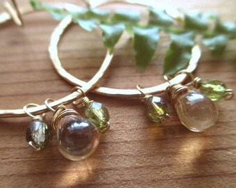 Champagne and Moss Earrings