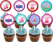30 ct Peppa Pig personalized cupcake toppers great for birthday party favors or decoration