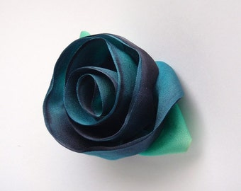 Radiant Turquoise Silk Flower Pin