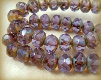 Czech Beads, 6x8mm Rondelle, Czech Glass Beads - Amethyst, Dark Lavender Purple Glass Beads (R8/N-0673) - Qty 12