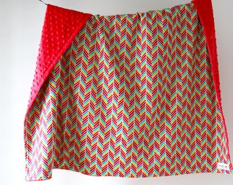 Large Baby/Toddler Blanket, Colorful Geometric Chevron with Watermelon Minky Dot, Ready to Ship
