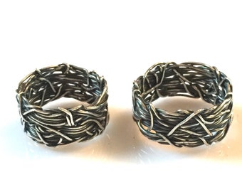 Crown of Thorns, Christian Wedding Rings, His and Hers Jewelry, Rustic Wedding Band, Textured Band, Wedding Bands