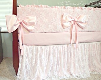 Baby Bedding Crib Bedding - Lace and Pink Satin