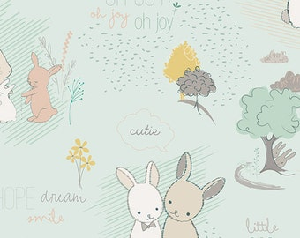 Baby Crib Bedding - Aqua Bunny Friends
