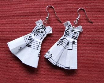 Music sheet dress, origami earrings