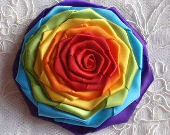 Handmade Ribbon Rose (3-1/4 inches) In Rainbow MY-211-01 Ready To Ship