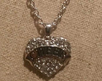 Clear Rhinestone Bling Pewter CHEER Charm necklace w/ Chain
