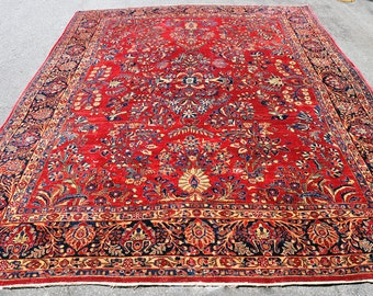 On HOLD for CANDACE  -- 1920s Antique Persian Sarouk Rug -- 12 ft. by 9 ft.