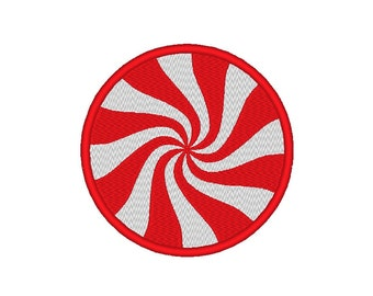 Peppermint Pinwheel Candy Christmas Embroidery Design